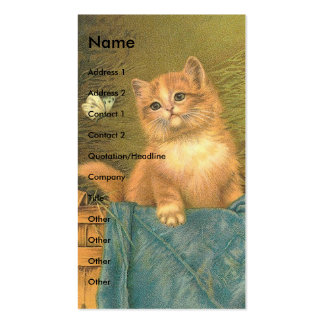 Vintage Kitten and Butterfly Pack Of Standard Business Cards