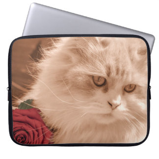 Vintage Kitten/Cat with Rose Laptop Sleeve