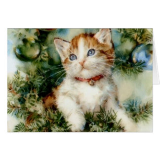 Vintage Kitten Christmas Note Card