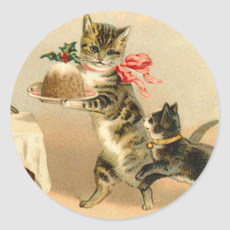 Vintage Kitten Christmas sticker