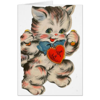 Vintage Kitten Valentine's Day Greeting Card