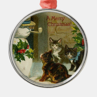 VIntage Kittens and Snowman Christmas Ornament