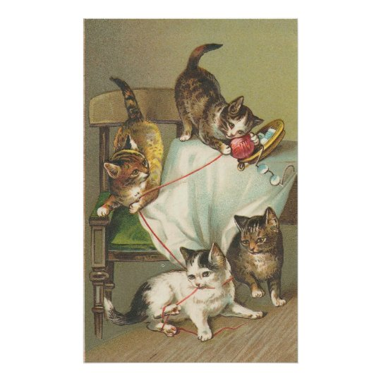 Vintage Kittens And Yarn Poster