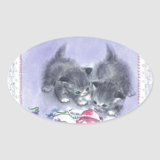 Vintage Kittens Antique Pearls Oval Stickers