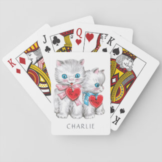 Vintage Kittens custom name playing cards