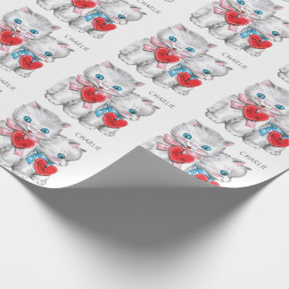 Vintage Kittens custom name wrapping paper