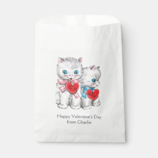 Vintage Kittens custom text Valentine's favor bags