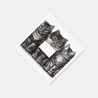 Vintage Kittens Disposable Serviette