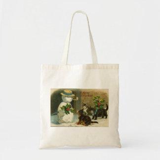 Vintage Kittens Snowman Christmas Bag
