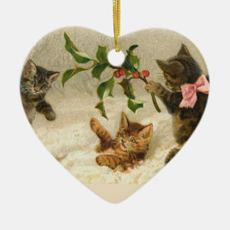 Vintage Kitties in the Snow Christmas Ornament