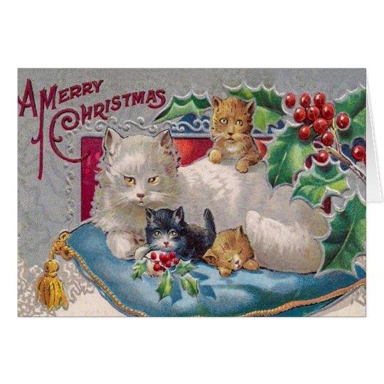 Vintage Kitty Cat Christmas Card, Customise it Card