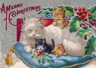 Victorian Cat Christmas Cards Zazzle Uk