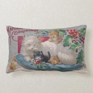 Vintage Kitty Cat Christmas with A Merry Christmas Lumbar Cushion