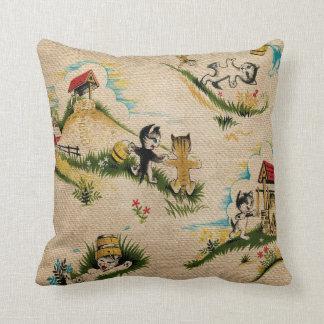 Vintage Kitty cat Jack Jill Nursery Rhyme Burlap Cushions