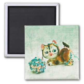Vintage Kitty Cat Square Magnet