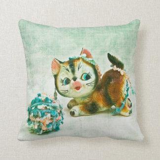 Vintage Kitty Cat Throw Pillow