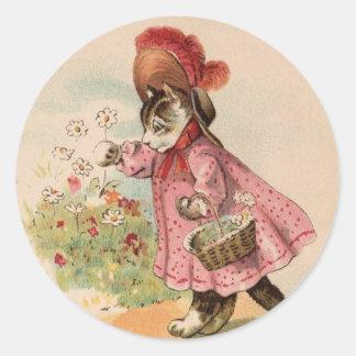 Vintage Kitty Round Sticker