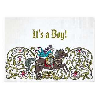 Vintage Knight Baby Shower Card