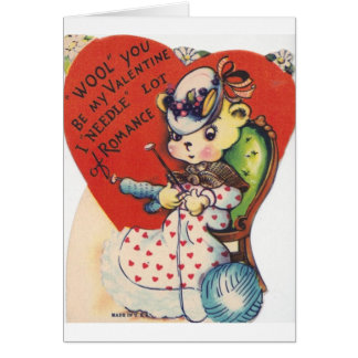 Vintage Knitting Valentine's Day Greeting Card
