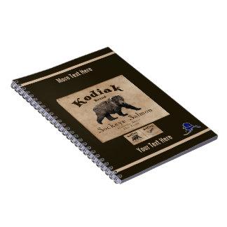 Vintage Kodiak Salmon Label (Bear) Spiral Notebook