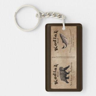 Vintage Kodiak Salmon Label Acrylic Keychain
