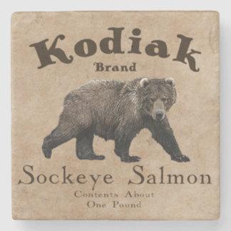 Vintage Kodiak Salmon Label Stone Coaster