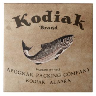 Vintage Kodiak Salmon Label Ceramic Tiles