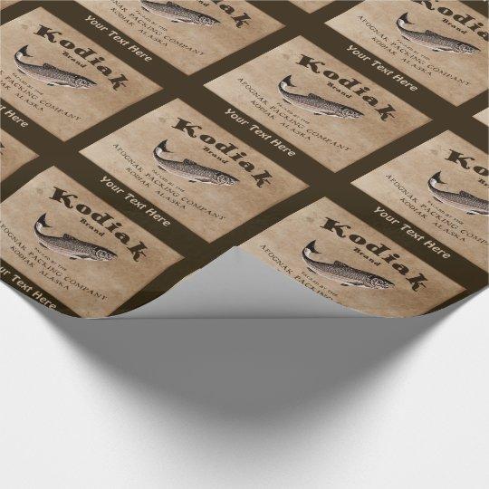 Vintage Kodiak Salmon Label Wrapping Paper
