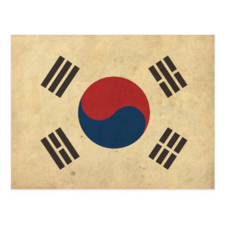 Vintage Korea Flag Postcard