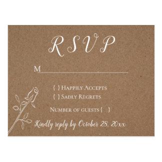 Vintage Kraft RSVP Rose Flower Country Wedding Postcard