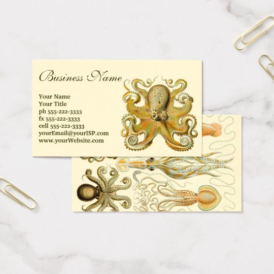 Vintage Kraken, Octopus Gamochonia, Ernst Haeckel Business Card