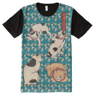 Vintage Kuniyoshi Japanese Cats Pattern All-Over Print T-Shirt