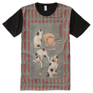 Vintage Kuniyoshi Japanese Cats Poses All-Over Print T-Shirt