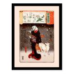 Vintage Kuniyoshi Woman and Dog in Snow Fine Art Postcard