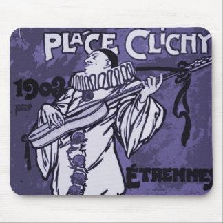 Vintage La Pláce Clichy Clown Guitarist Mouse Pad