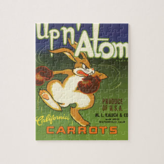 Vintage Label Art Boxing Rabbit, Up n Atom Carrots Jigsaw Puzzle