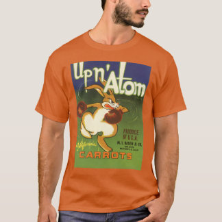 Vintage Label Art Boxing Rabbit, Up n Atom Carrots T-Shirt