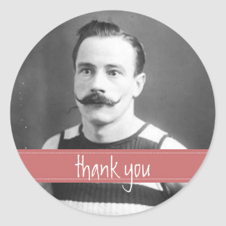 Vintage Labels Mustache / Moustache Thank You