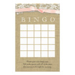 Vintage Lace and Blush Bow Shower Bingo Customized Stationery