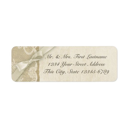 Vintage Lace and Burlap Rustic Country Return Address Label