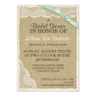 Vintage Lace and Green Bow Bridal Shower 13 Cm X 18 Cm Invitation Card