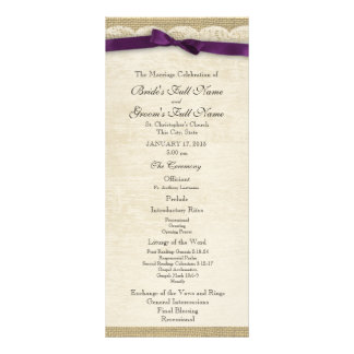 Vintage Lace and Purple Bow Wedding Program Rack Card