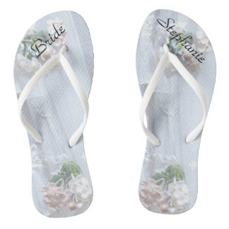 Vintage Lace Bride Wedding Personalized Flip Flops