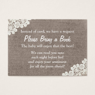 Vintage Lace Bring a Book Baby Shower Insert