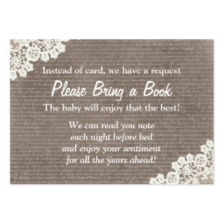 Vintage Lace Bring a Book Baby Shower Insert Pack Of Chubby Business Cards