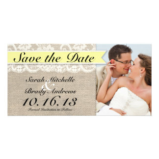 Vintage Lace Burlap Look Save the Date - Yellow Personalized Photo Card