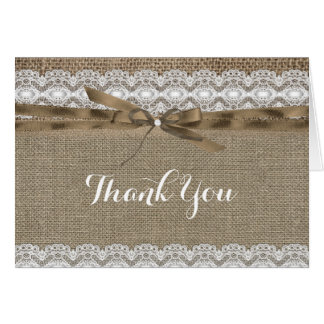 Vintage Lace & Burlap Thank You Card