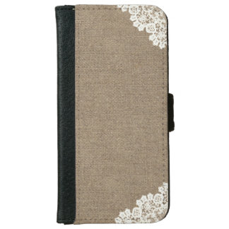 Vintage Lace Corner Burlap iPhone 6 Wallet Case