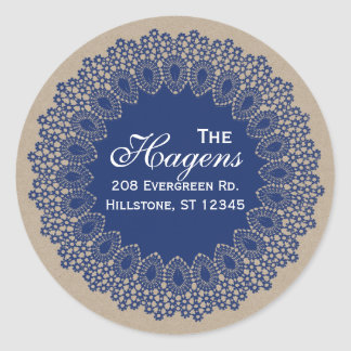 Vintage Lace Doily Return Address Round Label Navy