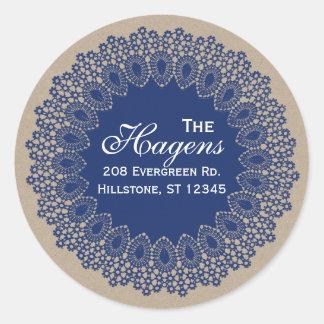 Vintage Lace Doily Return Address Round Label Navy Round Sticker